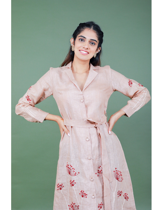 'Bloom' hand embroidered pure linen dress in vintage rose pink:LD690A-LD690A-S