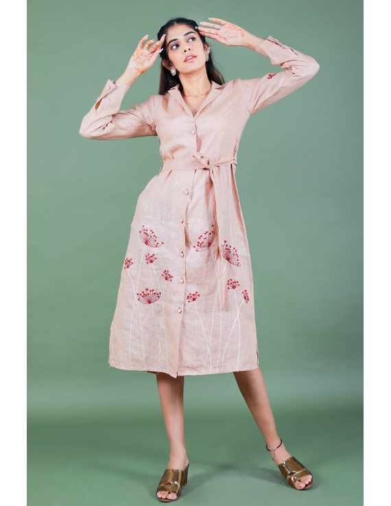 'Bloom' hand embroidered pure linen dress in vintage rose pink:LD690A-S-1