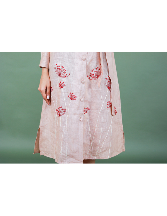 'Bloom' hand embroidered pure linen dress in vintage rose pink:LD690A-S-2
