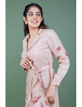 'Bloom' hand embroidered pure linen dress in vintage rose pink:LD690A-S-3-sm