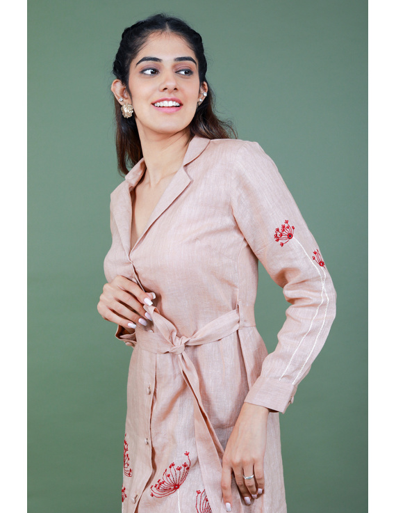'Bloom' hand embroidered pure linen dress in vintage rose pink:LD690A-S-3