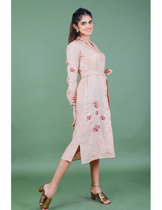 'Bloom' hand embroidered pure linen dress in vintage rose pink:LD690A-S-4