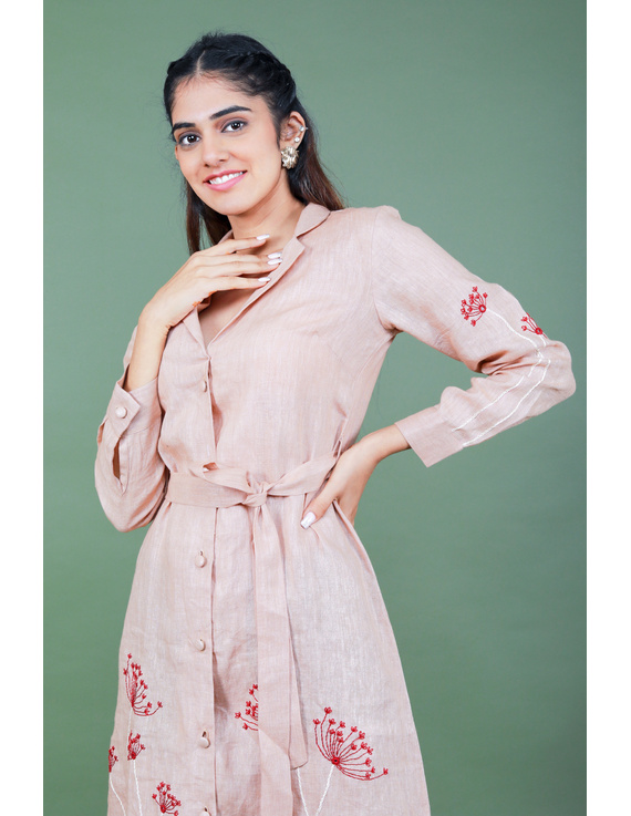 'Bloom' hand embroidered pure linen dress in vintage rose pink:LD690A-S-5