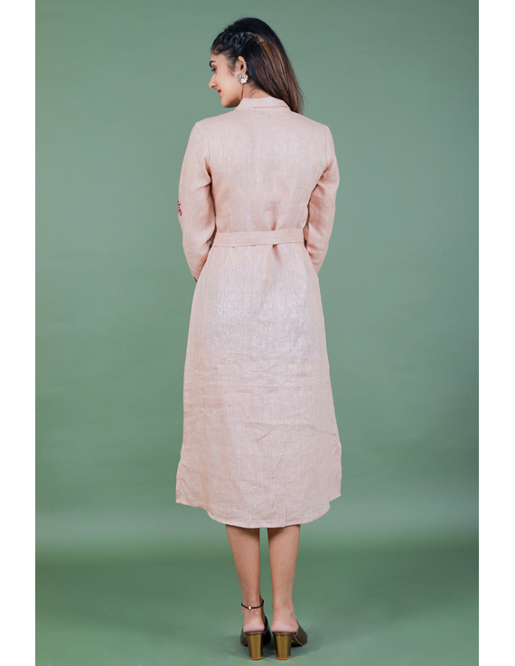 'Bloom' hand embroidered pure linen dress in vintage rose pink:LD690A-S-6