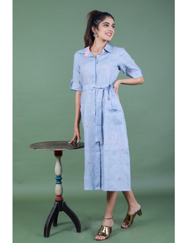 Linen hand embroidered collar dress in aqua blue:LD700A-LD700A-S-sm