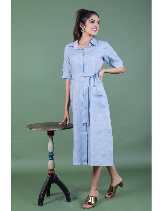 Linen hand embroidered collar dress in aqua blue:LD700A-LD700A-S