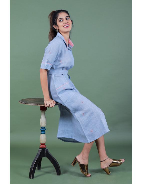 Linen hand embroidered collar dress in aqua blue:LD700A-S-1