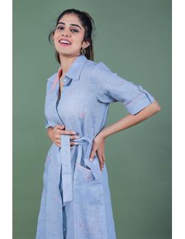 Linen hand embroidered collar dress in aqua blue:LD700A-S-2-sm