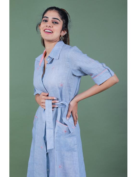 Linen hand embroidered collar dress in aqua blue:LD700A-S-2