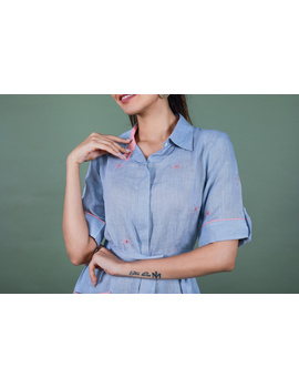 Linen hand embroidered collar dress in aqua blue:LD700A-S-3-sm