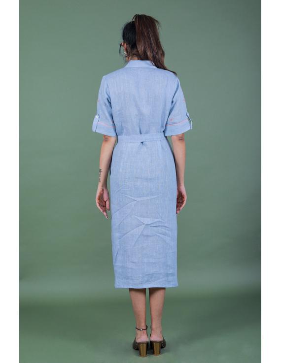 Linen hand embroidered collar dress in aqua blue:LD700A-S-4