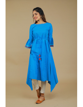 Blue Hand Embroidered Kurta With Flared Sleeves: Lk380C-LK380C-S-sm