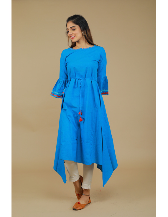 Blue Hand Embroidered Kurta With Flared Sleeves: Lk380C-LK380C-S