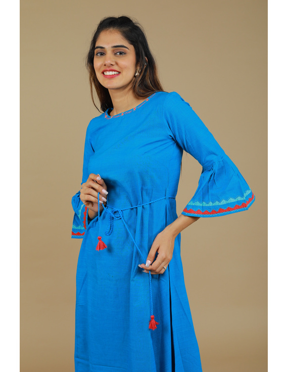 Blue Hand Embroidered Kurta With Flared Sleeves: Lk380C-S-1