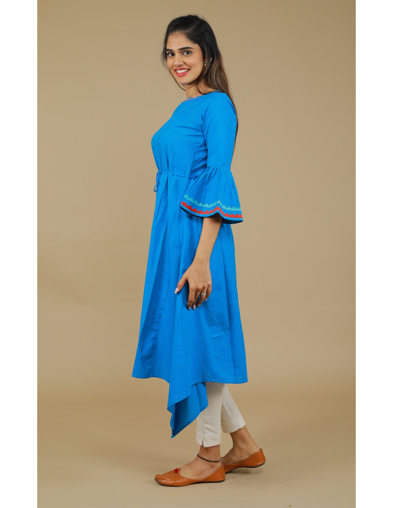 Blue Hand Embroidered Kurta With Flared Sleeves: Lk380C-S-3