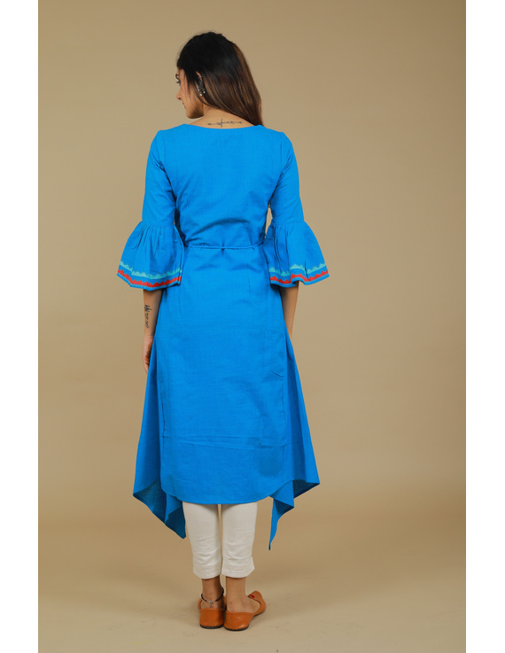 Blue Hand Embroidered Kurta With Flared Sleeves: Lk380C-S-4