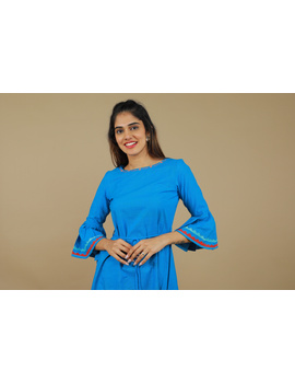 Blue Hand Embroidered Kurta With Flared Sleeves: Lk380C-S-2-sm