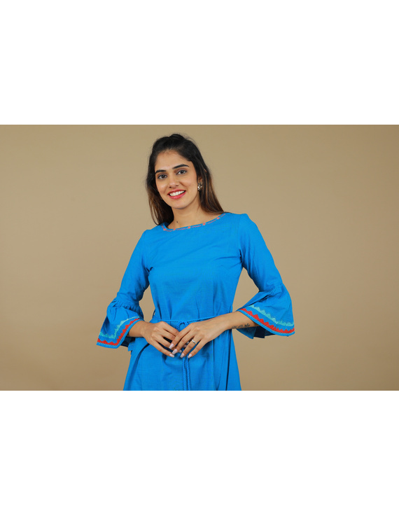 Blue Hand Embroidered Kurta With Flared Sleeves: Lk380C-S-2