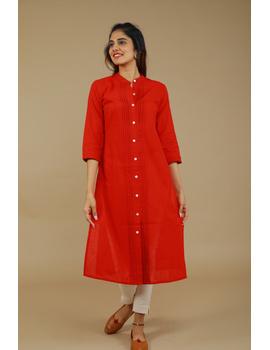 Red Straight Kurta With Pintucks: Lk410B-M-1-sm