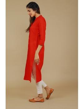 Red Straight Kurta With Pintucks: Lk410B-M-3-sm
