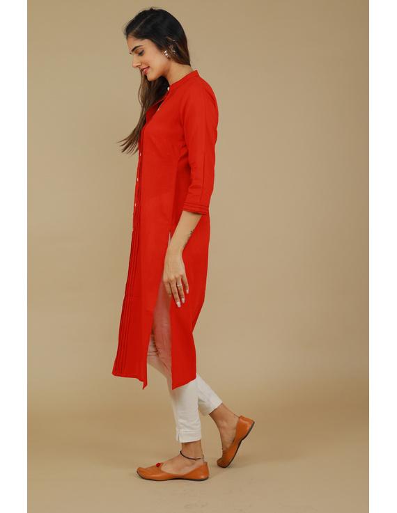 Red Straight Kurta With Pintucks: Lk410B-M-3