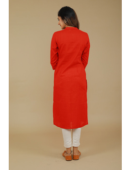 Red Straight Kurta With Pintucks: Lk410B-M-5-sm