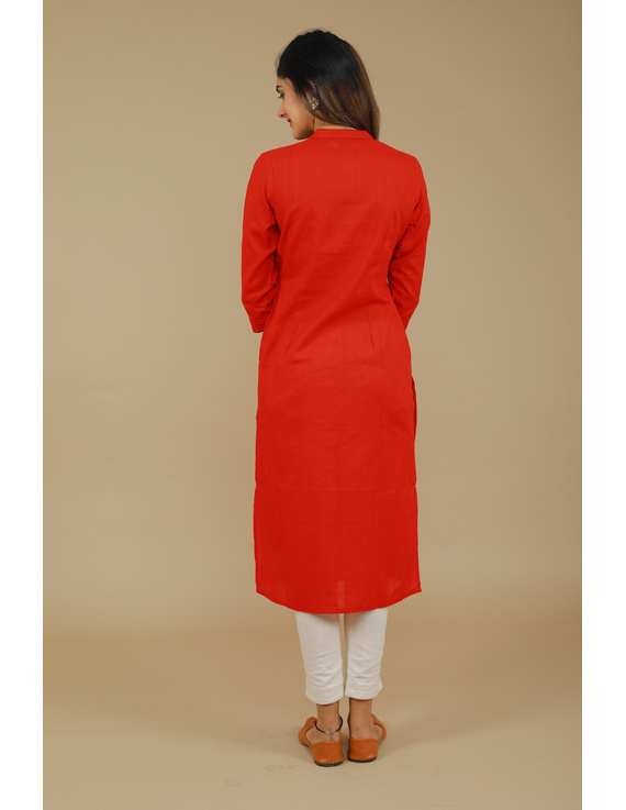 Red Straight Kurta With Pintucks: Lk410B-M-5