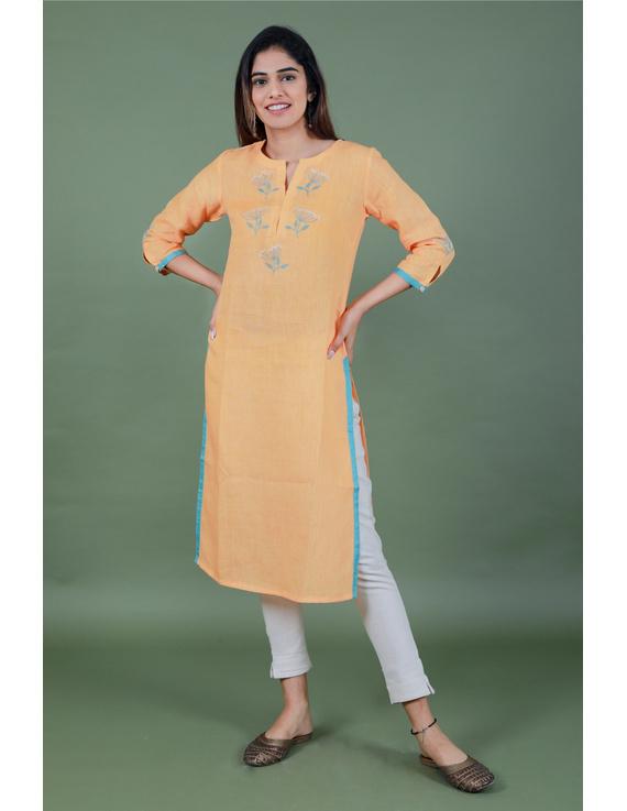 Yellow dandelion motif embroidered kurta in pure linen-LK420B-LK420B-S