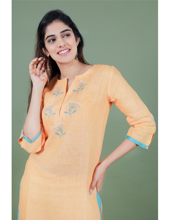 Yellow dandelion motif embroidered kurta in pure linen-LK420B-S-1