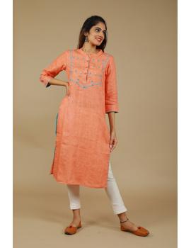 Banjara yoke kurta in peach linen fabric-LK430A-LK430A-S-sm