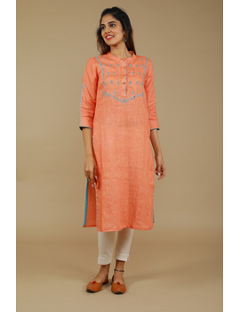 Banjara yoke kurta in peach linen fabric-LK430A-S-1-sm