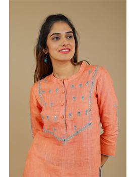 Banjara yoke kurta in peach linen fabric-LK430A-S-2-sm