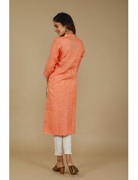 Banjara yoke kurta in peach linen fabric-LK430A-S-3-sm
