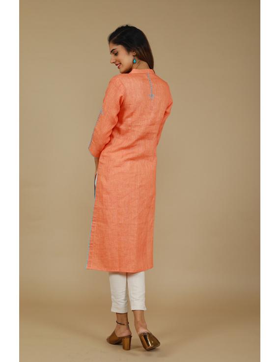 Banjara yoke kurta in peach linen fabric-LK430A-S-3