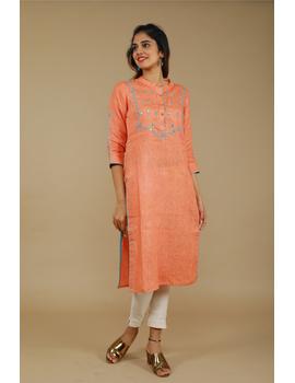 Banjara yoke kurta in peach linen fabric-LK430A-S-4-sm