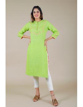 Banjara yoke kurta in mehendi green linen fabric-LK430B-LK430B-S-sm