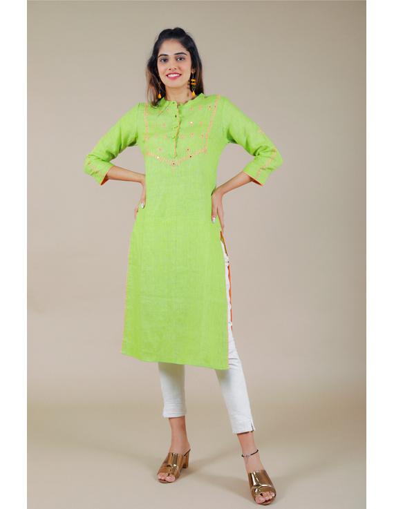Banjara yoke kurta in mehendi green linen fabric-LK430B-LK430B-S