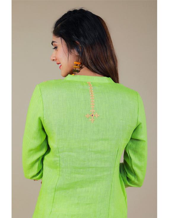 Banjara yoke kurta in mehendi green linen fabric-LK430B-S-5