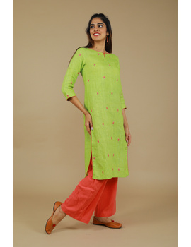 All over mirror embroidered kurta in green linen fabric-LK440A-S-3-sm