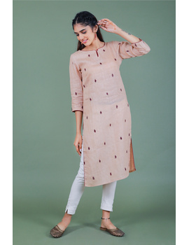 All over mirror embroidered kurta in old rose linen fabric-LK440B-S-1-sm