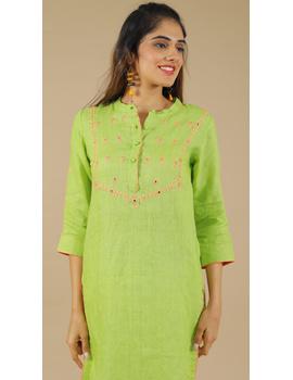 Banjara yoke kurta in mehendi green linen fabric-LK430B-S-2-sm