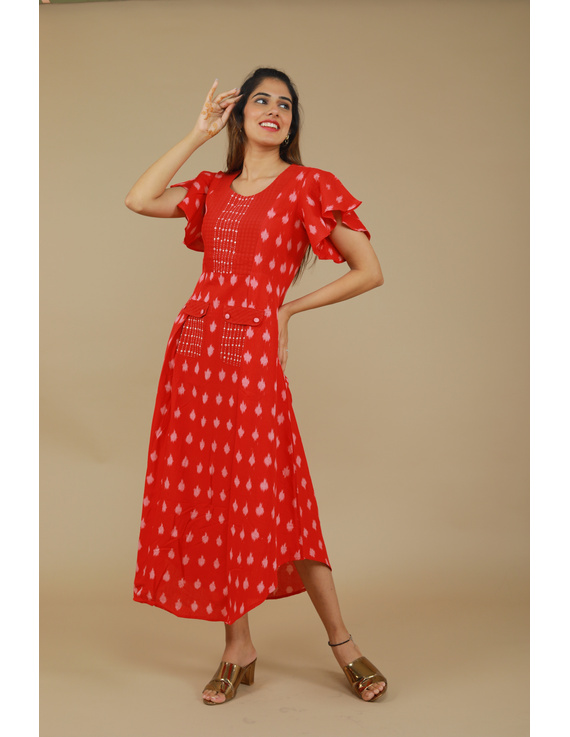 RED IKAT PLEATED DRESS WITH HAND EMBROIDERED POCKETS AND YOKE: LD550A-LD550A-S
