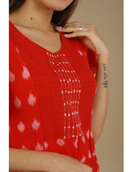 RED IKAT PLEATED DRESS WITH HAND EMBROIDERED POCKETS AND YOKE: LD550A-S-1-sm