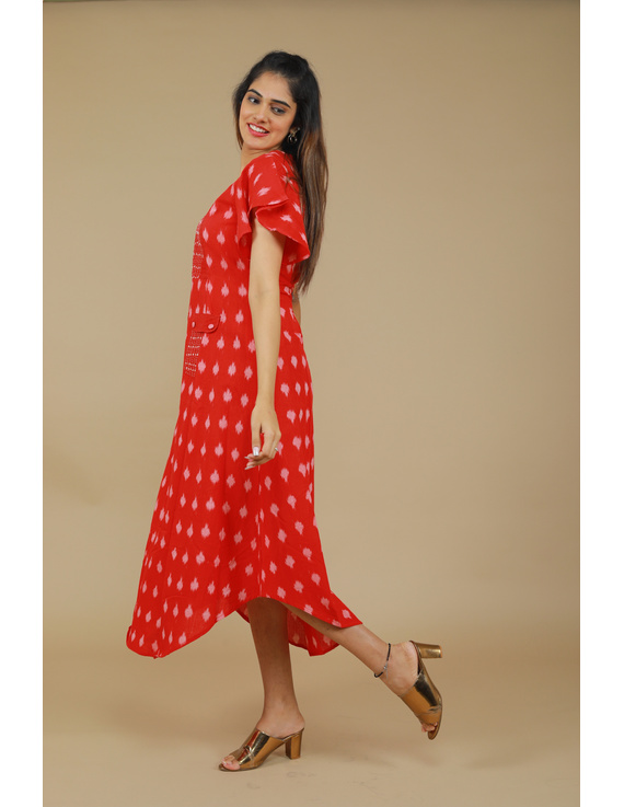 RED IKAT PLEATED DRESS WITH HAND EMBROIDERED POCKETS AND YOKE: LD550A-S-2