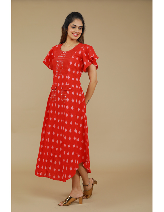 RED IKAT PLEATED DRESS WITH HAND EMBROIDERED POCKETS AND YOKE: LD550A-S-3