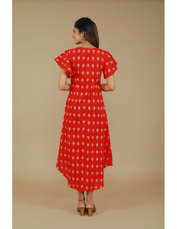 RED IKAT PLEATED DRESS WITH HAND EMBROIDERED POCKETS AND YOKE: LD550A-S-4