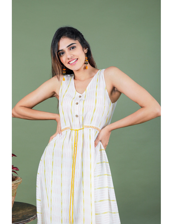 Sleeveless white ikat dress with embroidered belt:LD640A-S-1