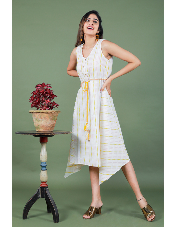 Sleeveless white ikat dress with embroidered belt:LD640A-LD640A