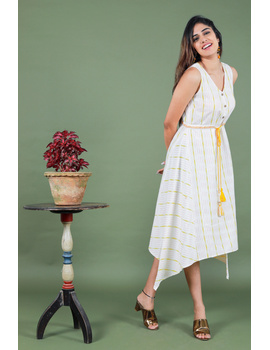 Sleeveless white ikat dress with embroidered belt:LD640A-S-3-sm