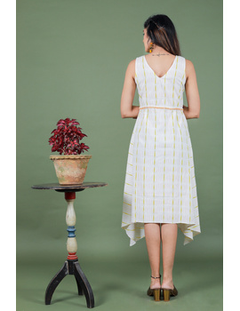 Sleeveless white ikat dress with embroidered belt:LD640A-S-5-sm
